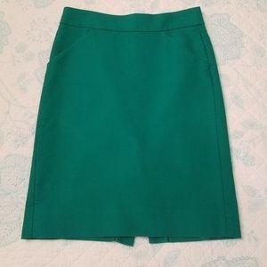 J. Crew Green Pencil Skirt Size 00 🍏